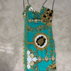 Emerald Versace PRINT body con dress